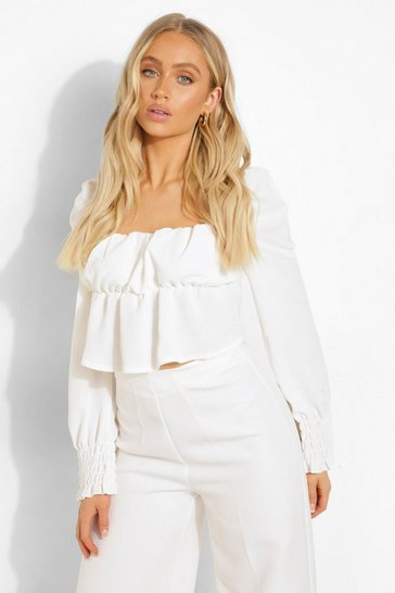 White Linen Rouched Bust Long Sleeve Crop Top