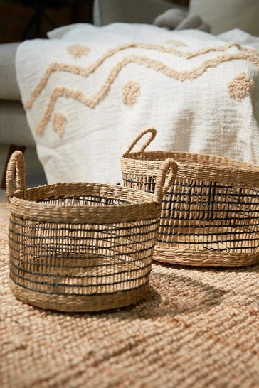 Natural beige Seagrass Open Weave Baskets - Set Of 2