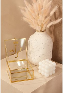 Gold metallic Abstract Face Glass Jewellery Box