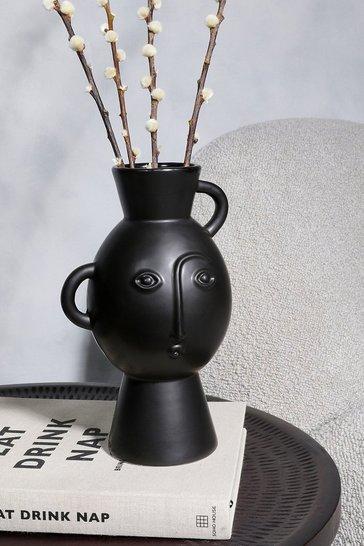 Black Amira Face Vase With Handles
