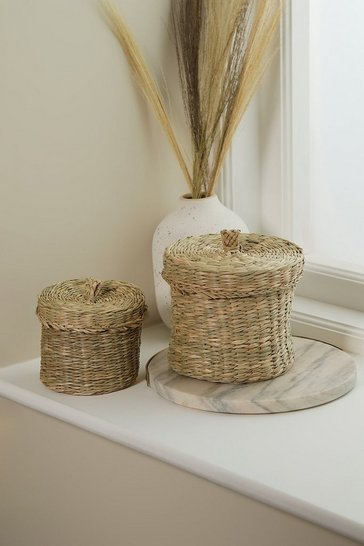 Natural beige Seagrass Baskets With Lid - Set Of 2