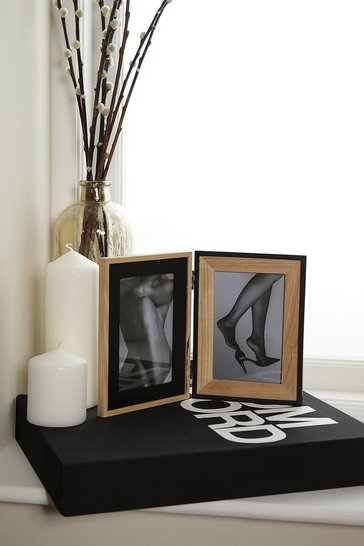 Black & Natural Wood Double Frame