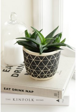 Black Scandi Boho Cement Planter