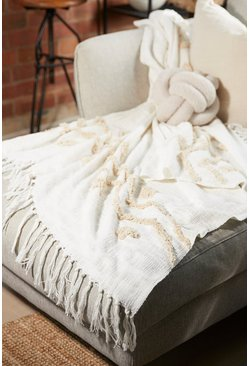 Natural beige Blanca Tufted Zigzag Throw