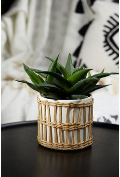 Natural beige Speckled White & Woven Planter