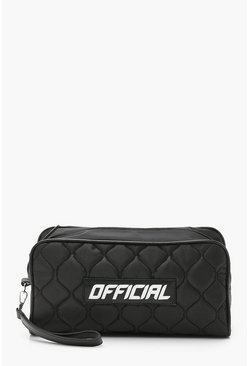 Black Official Sports Quilted Toiletry Bag