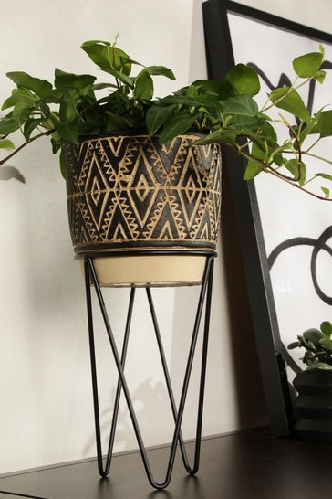 Brown Planter With Wire Stand