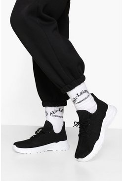 Blackwhite Lace Up Knitted Sports Trainers