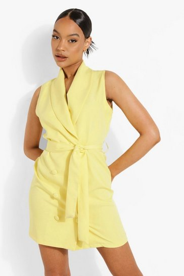 Yellow Double Breasted Tailored Blazer Dress
