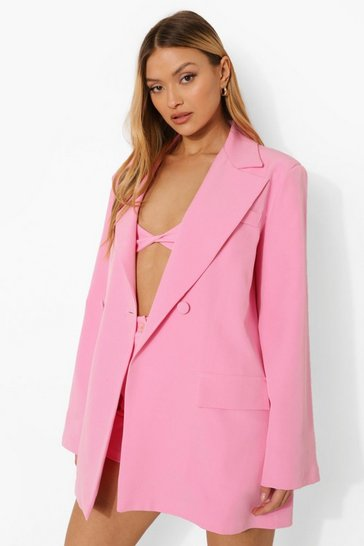 Pink Flared Sleeve Tailored Blazer