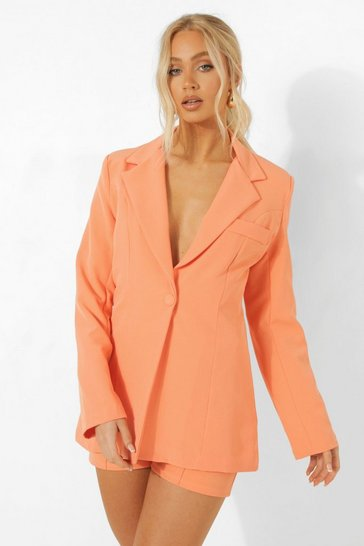 Coral pink Fitted Tailored Blazer