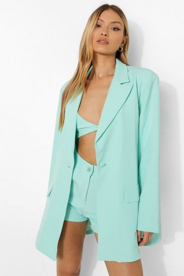 Mint green Relaxed Fit Blazer