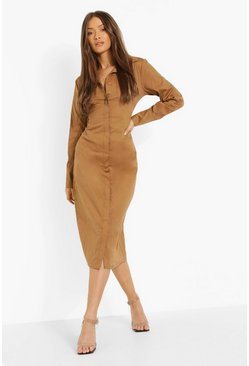 Caramel beige Slim Fit Midi Shirt Dress