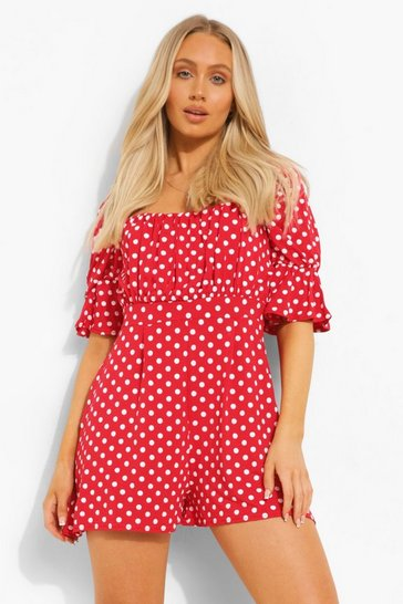 Red Polka Dot Square Neck Flippy Playsuit