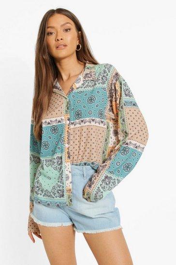Bandana Print Multi Colour Oversized Shirt