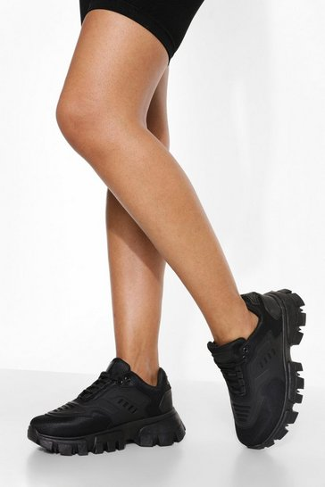 Black Cleated Sole Trainer