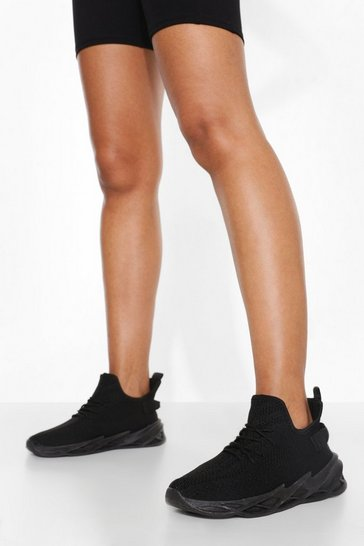 Black Lace Up Sporty Sock Trainer