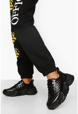 Black Chunky Quilted Trainer