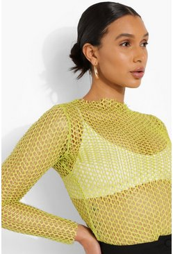 Lime green Fishnet Long Sleeve Top