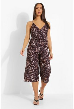 Brown Leopard Print Plunge Neck Culotte Jumpsuit