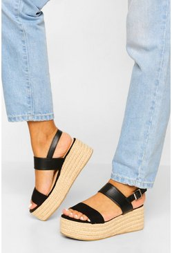 Black Chunky Double Strap Flatforms