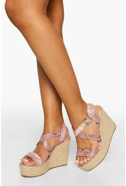 Blush pink Crossover Snake Buckle Wedge