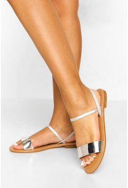 Silver Wide Fit Ankle Strap Sandals