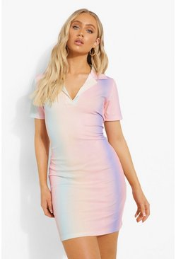 Pastel Stripe Collared Shirt Mini Dress, Pink Розовый