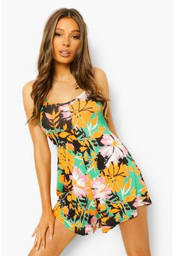 Green grön Floral Strappy Back Swing Playsuit