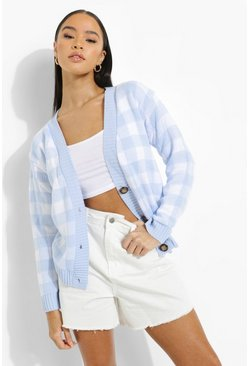Blue Gingham Crop Cardigan