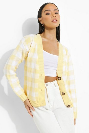 Lemon yellow Gingham Crop Cardigan