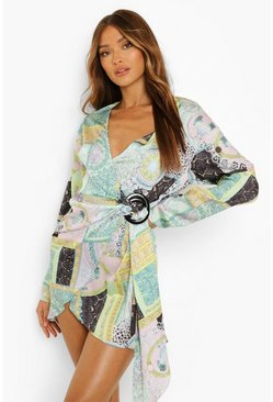 Green Scarf Print Satin Wrap Shirt Style Dress