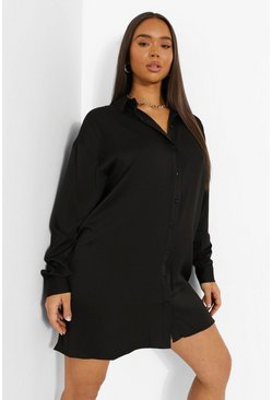 Black Satin Plunge Long Sleeve Shirt Dress