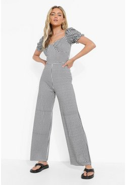Black Gingham Puff Sleeve Wide Leg Jumpsuit