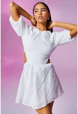 White Broderie Anglais Puff Sleeve Skater Dress