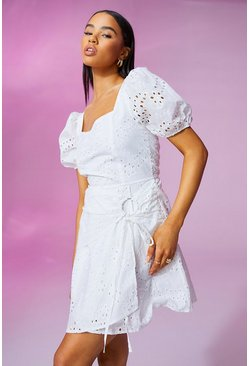 White Broderie Anglais Puff Sleeve Wrap Dress