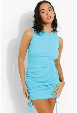 Blue Premium Rib Side Ruched Dress