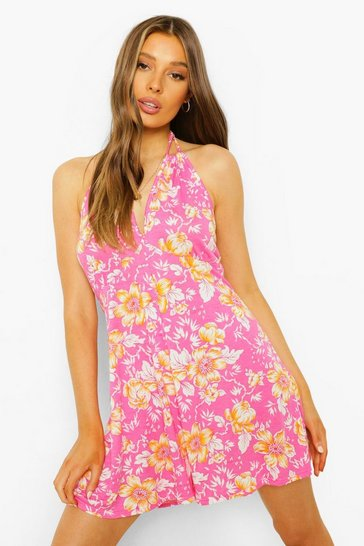 Pink Floral Keyhole Detail Swing Playsuit