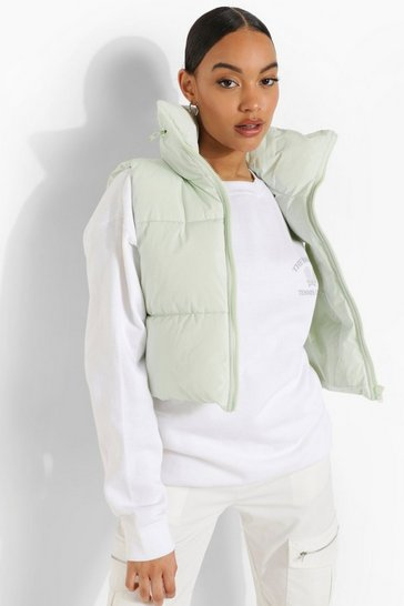 Sage green Pastel Funnel Neck Gilet
