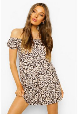 Brown brun Leopard Puff Sleeve Bardot Swing Playsuit