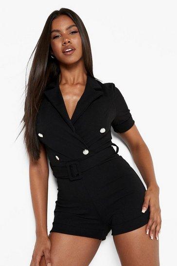 Black Belted Button Detail Blazer Playsuit