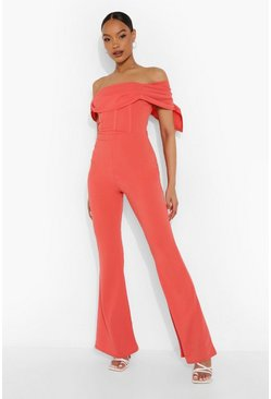 Coral pink Draped Corset Detail Flare Jumpsuit