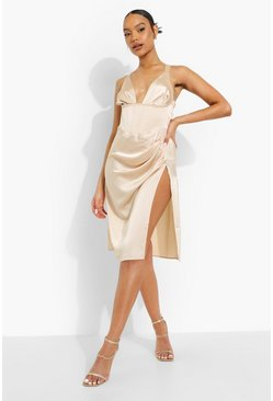 Champagne beige Satin Plunge Corset Split Midi Dress