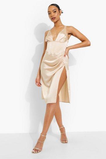 Champagne beige Satin Plunge Corset Split Midi Dress