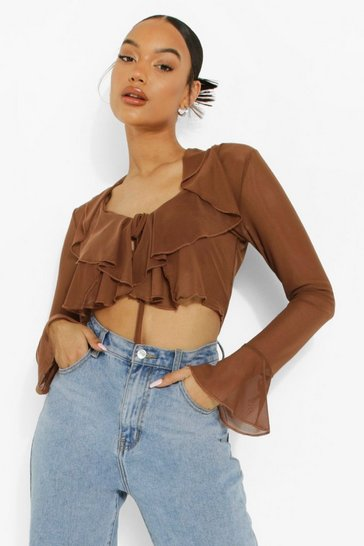 Chocolate brown Mesh Ruffle Blouse