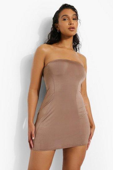 Mocha beige Recycled Strap Detail Dress