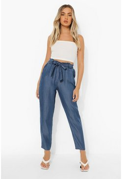 Mid blue Cropped Belted Paperbag Chambray Trouser