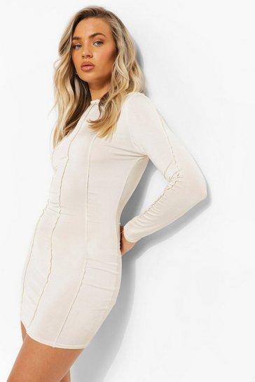 Cream white Recycled One Sleeve Exposed Seam Mini Dress