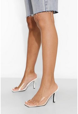 White Clear Heeled Mule