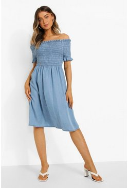 Shirred Bardot Denim Dress, Light blue azzurro